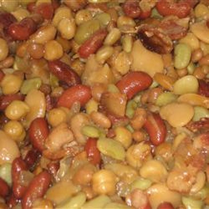 Five Bean Casserole Recipe Main Dishes, Side Dishes with bacon, chopped onion, brown sugar, mustard powder, garlic powder, salt, cider vinegar, butter beans, lima beans, kidney beans, garbanzo beans, baked beans
