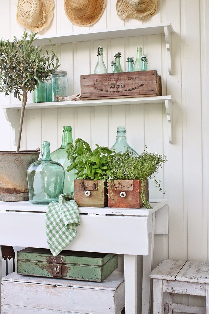 Garden vignette, white cabinet, herbs, potting bench, VIBEKE DESIGN, antique bottles