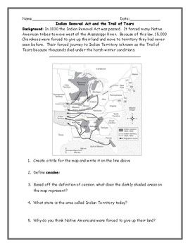 Indian Removal Act Map and Trails of Tears Worksheet with ...