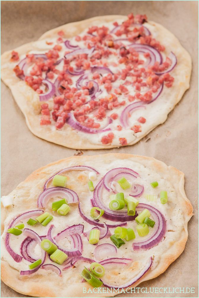 Einfaches Flammkuchen-Rezept ohne Hefe | http://www.backenmachtgluecklich.de