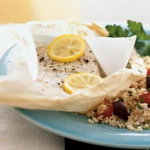 Mediterranean Mahimahi in Parchment with Couscous Recipe | MyRecipes.com