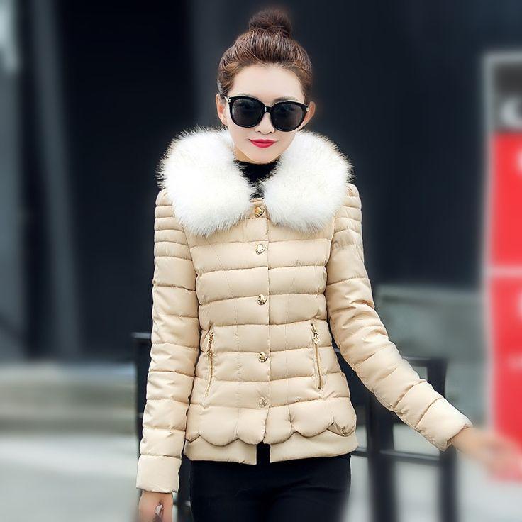 (35.00$)  Watch now - http://aigwb.worlditems.win/all/product.php?id=32724505140 - Latest Winter Fashion Women Down jacket Elegant Fur collars Single-breasted Short Coat Long sleeve Slim Big yards Parkas NZ278