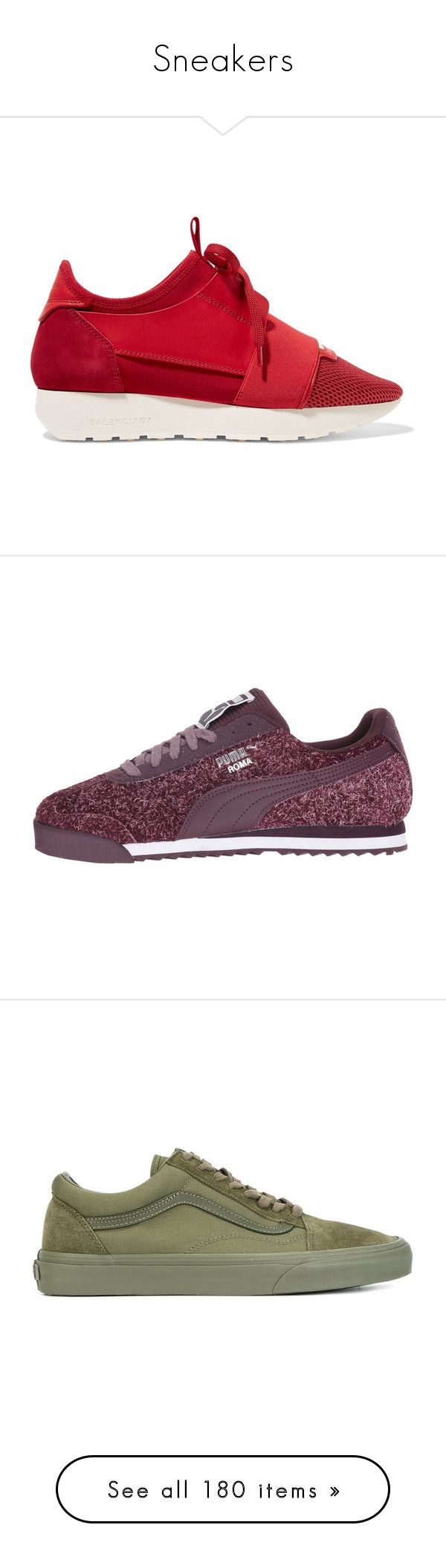 """""""Sneakers"""" by deborahsauveur ❤ liked on Polyvore featuring shoes, sneakers, claret, balenciaga trainers, balenciaga shoes, rubber sole shoes, lace up shoes, leather lace up sneakers, puma footwear and round cap"""