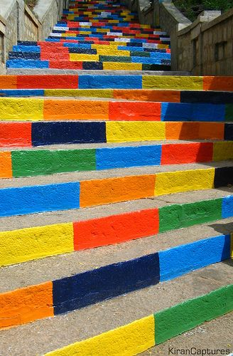 Rural India:Colorful Steps @ Indian temple