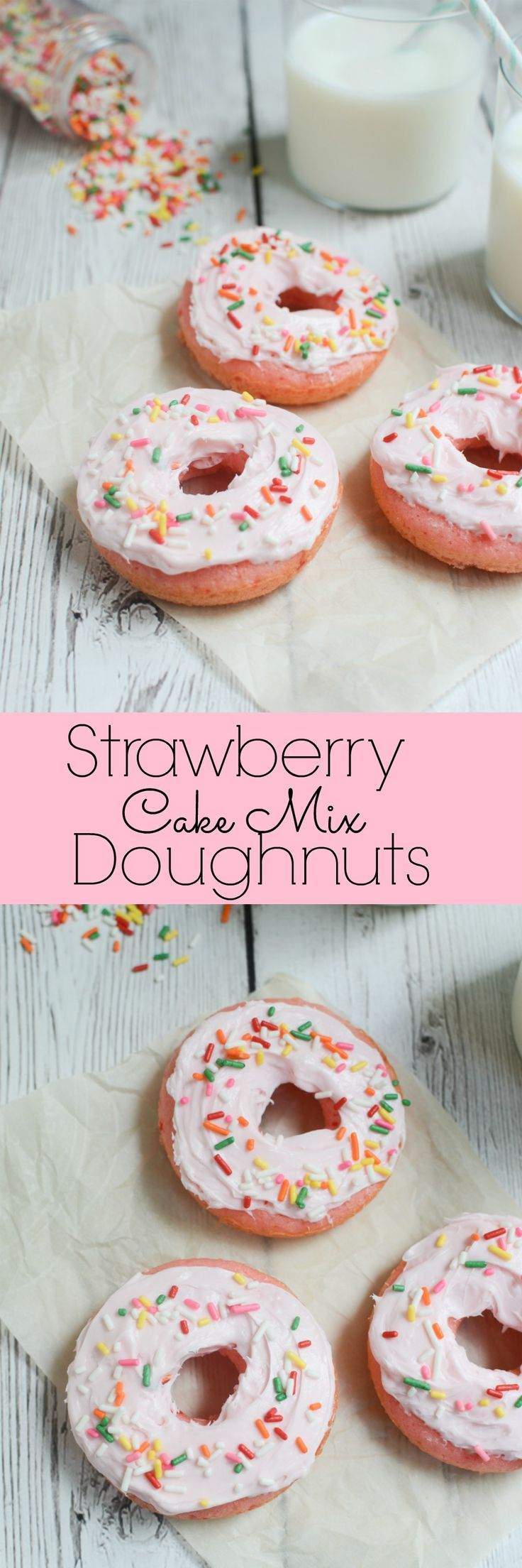 Strawberry Cake Mix Doughnuts - homemade doughnuts in minutes! You won't be able to resist these fluffy doughnuts!