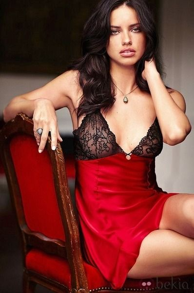 Black Red Lingerie Adriana Lima