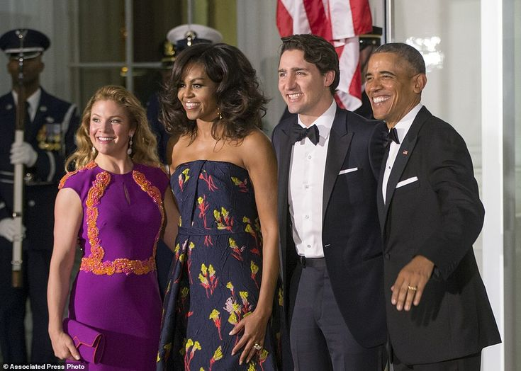 Say cheese! President Barack Obama and first lady Michelle Obama greet Canadian Prime Minister Justin Trudeau and Sophie Grégoire Trudeau at the North Portico of the White House 10 Mar 2016