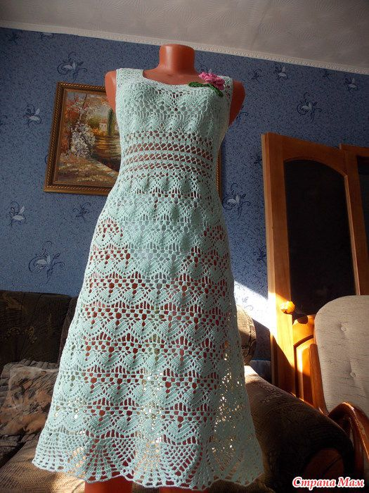 """Мое новое воплощение, платье """"Весна"""" связано крючком."""