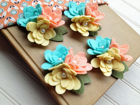 Wool Felt Fabric Flowers - Mini Mum Trios - Mint Julep Collection - Set of 4 with Leaves via Etsy