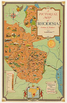 A W. BAYLISSOUTHERN RHODESIA PUBLICITY BUREAUSURVEYOR-GENERAL'S OFFICE, Salisbury, Poster: A pictorial map of Rhodesia (Southern & Northern)