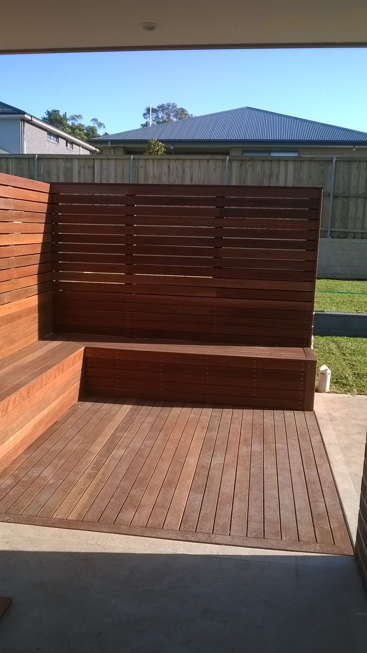 Ironbark Timber decking Seat & screen