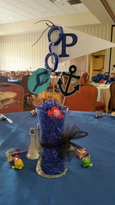 Swim banquet centerpieces