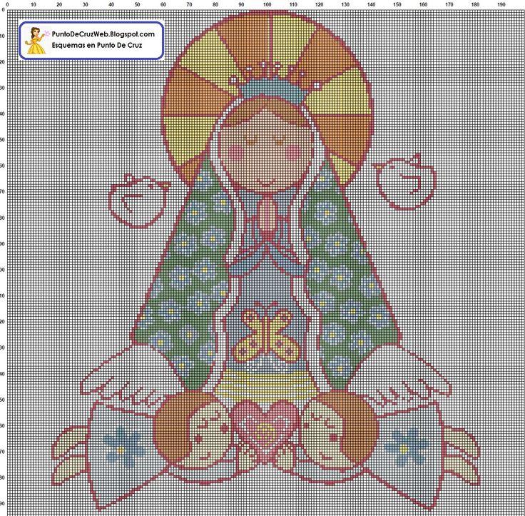 Virgen Guadalupe Punto De Cruz. www.puntodecruzweb.blogspot.com