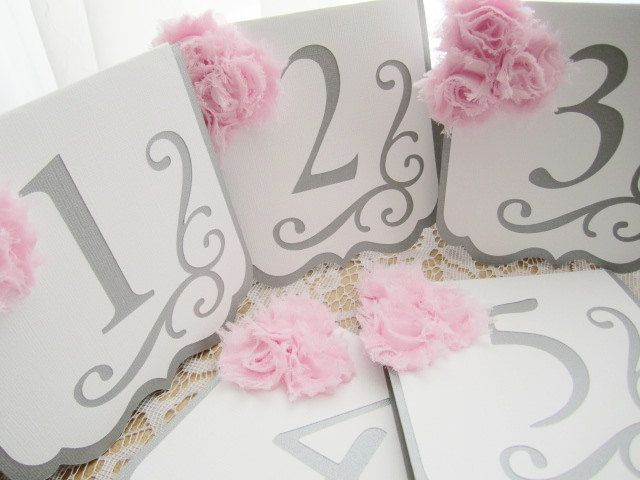 """Wedding Table Numbers - """"Flourish"""" in Silver / Gray and White w/ Pale Pink Blush Chiffon Accents"""