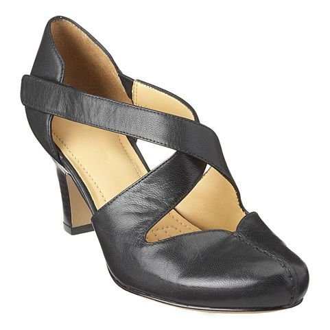 This dress shoe has a criss-cross adjustable closure and stretch panel on the side for an easier fit. It has a cushioned insole for added comfort and almond shaped toe with stitching detail for added style.