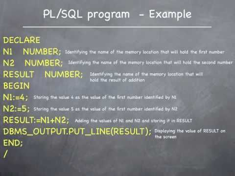 Introduction to ORACLE PL/SQL programming