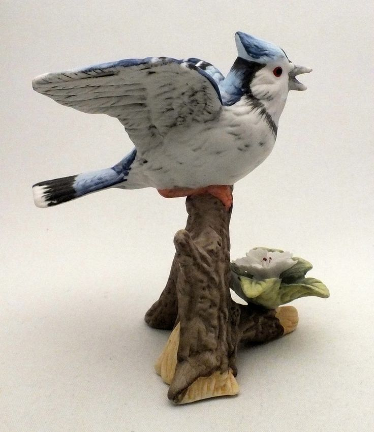 Hand Painted Blue Jay Figurine Perched On Branch With White Flower