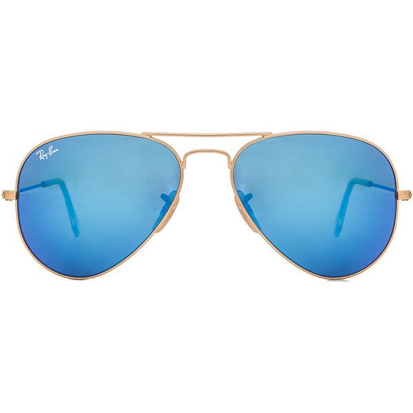 Ray-Ban Aviator Sunglasses ($170) ❤ liked on Polyvore featuring accessories, eyewear, sunglasses, glasses, metal frame sunglasses, ray ban eyewear, ray ban sunglasses, mirror aviator glasses and mirrored sunglasses