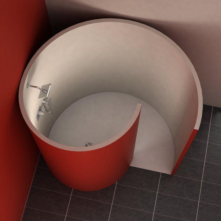 Zur Aufnahme der 5 cm starken Wandelemente aus Wedi®-Bauplatten ist eine Nute in das Bodenelement eingefräst. Die Dusche ist perfekt geeignet für die Aufnahme von Fliesen, Putz oder PVC. Hochwertiges ebenerdiges Bodenelement aus...