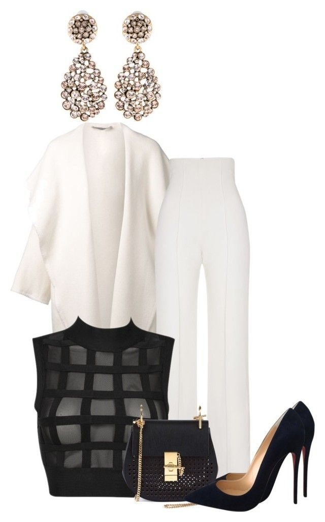 """Fashionstylebytracey"" by fashionstlyebytracey ❤ liked on Polyvore featuring DuÅ¡an, Yves Saint Laurent, Christian Louboutin, Oscar de la Renta and Chloé"