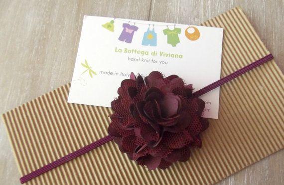 Baby Headbandsnewborn burgundy ROSETTE by LaBottegaDiViviana, €3.30