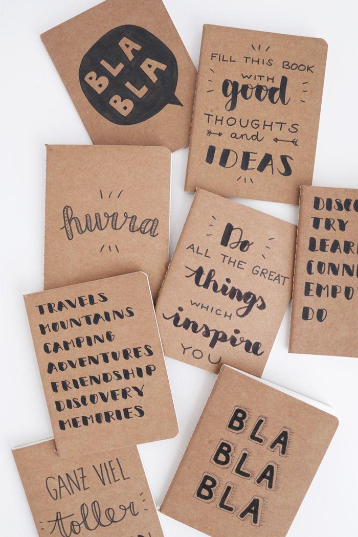 Handlettered notebooks via www.luloveshandmade.com