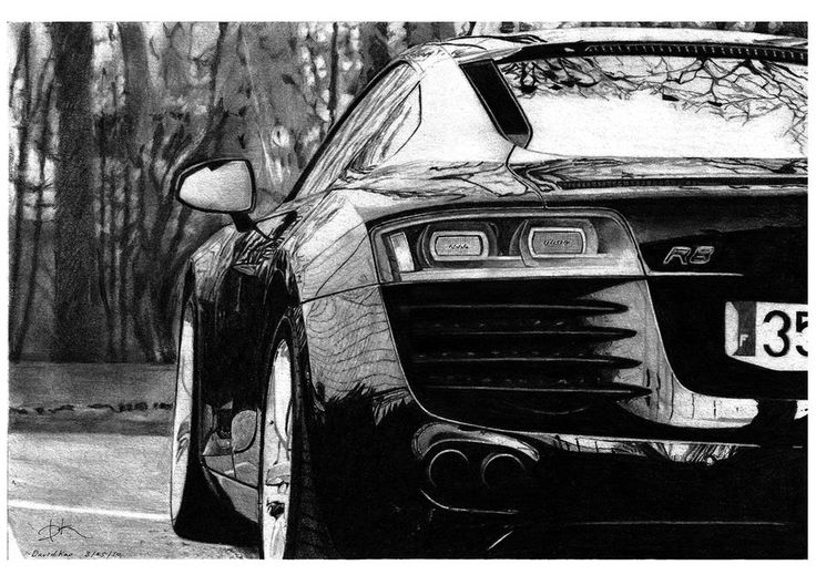 Audi R8...The man behind this picture has been drawing ultra-realistic pictures of motor cars since a very young age and has now perfected his skill to such an extent that he is able to produce artwork like the image above.