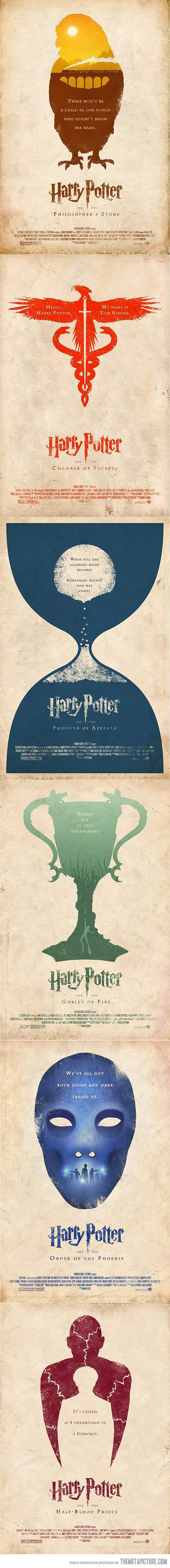 Minimalist Poster Versions Of Harry Potter Movies. Absolutely beautiful.