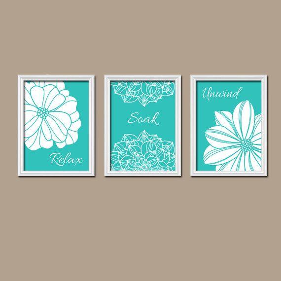 Turquoise Bathroom Wall Art Canvas Or Prints Bathroom Decor Dahlia Flower Artwork Relax Soak Unwind Bathroom Pictures Set Of 3 Decor