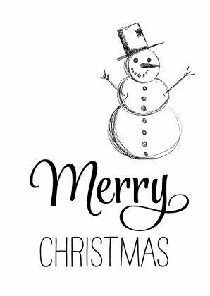 Hippe zwart wit kerstkaart met Merry Christmas in mooie letters en een getekende sneeuwpop. Helemaal van deze tijd.
