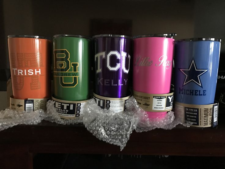 Can't get much better then this!!! 😍 Beautiful colored cups and pretty good looking decals if I say so myself! 😉 #decals #yeti #powdercoating #corkcicle #rtic #etsy #custom #college #baylor #texaslonghorns #tcu #nfl #dallascowboys #thecraftyaggie TheCraftyAggie.etsy.com