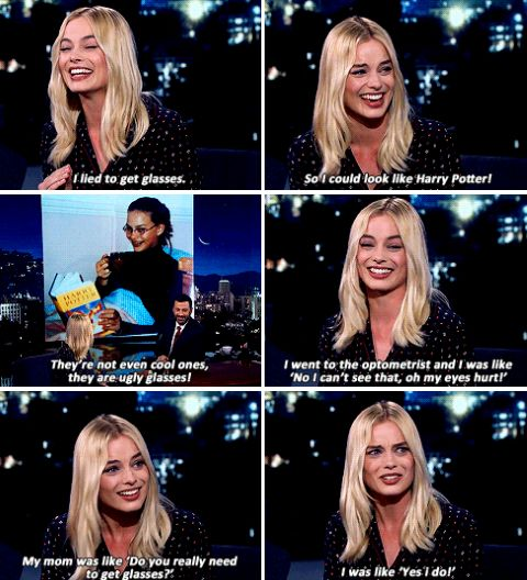 HP fun - Margot Robbie on her 'most embarrassing photo': I have braces, which I had for two years. I was really into slicking my hair back — God knows why — and I'm wearing glasses, which I didn't actually need. I have 20/20 vision.