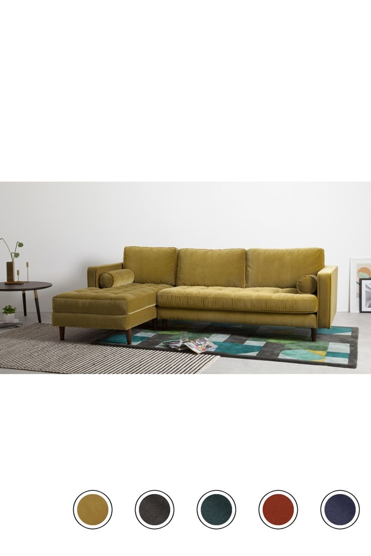 Scott 4 Seater Left Hand Facing Chaise End Sofa Gold