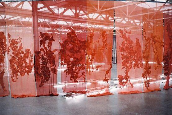 A net curtain installation by Dutch textile artist Claudy Jongstra.