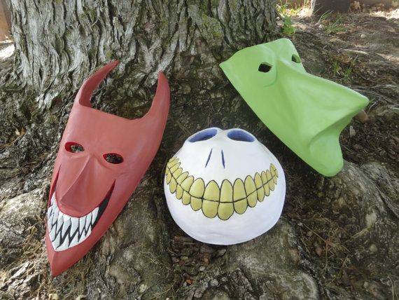 Get ready for Lock, Shock, and Barrel! Inspired by The Nightmare Before Christmas, these are the three masks as worn by Lock, Shock and Barrel. Made