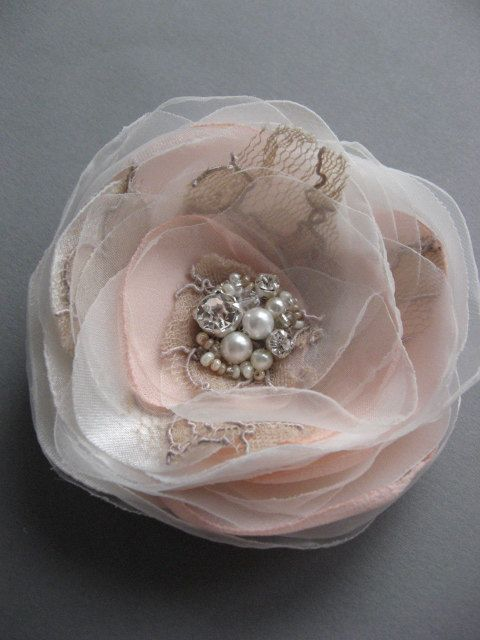 Wedding vintage inspired bridal accessory Tan Ivory Blush Pink Hair clip Flower lace Rose fascinator rhinestone pearls 3 inch. $26.00, via Etsy.