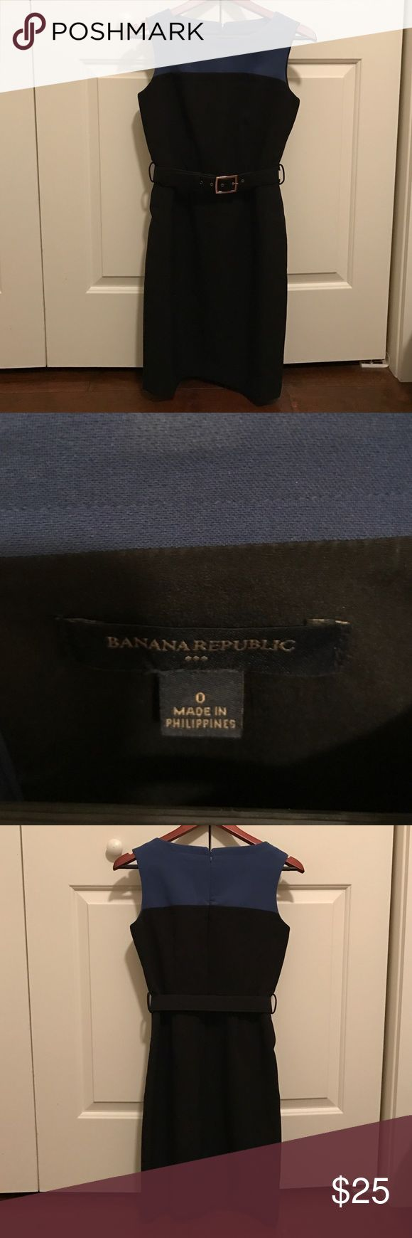 Banana Republic Dress Blue and black two tone Banana Republic Dress. Belted with a gold buckle. Good condition. Excellent for work. Banana Republic Dresses