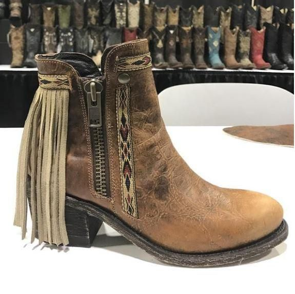 Corral Boots - Fringe Aztec Zip Up Booties