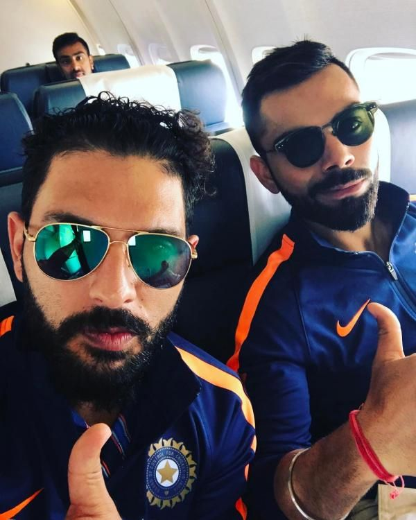Priceless picture! Man of the Match Yuvraj Singh poses for a selfie with the Indian Team captain Virat Kohli