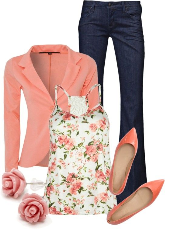 "I'm obsessed with this whole outfit!!!!! ""Coral Blazer"" by qtpiekelso ❤ liked on Polyvore"