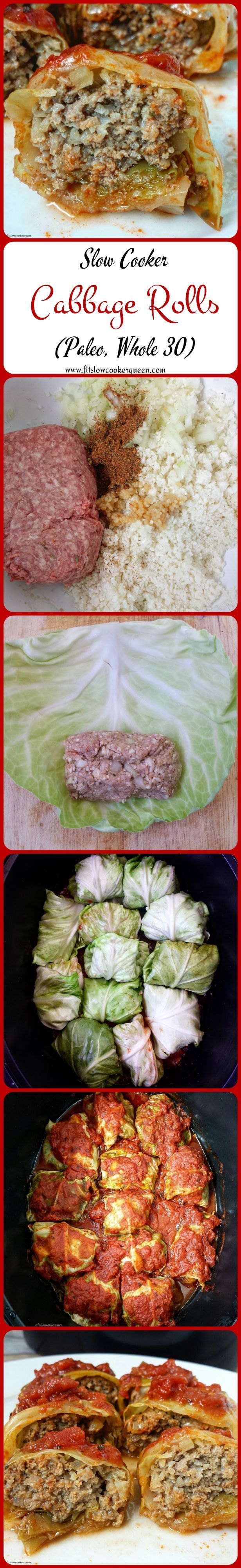 Crock-Pot Cabbage Rolls - ground meat, kool cabbage, cauliflower rice, diced tomatoes, onion, Italian seasoning/oregano, salt, pepper, garlic cloves