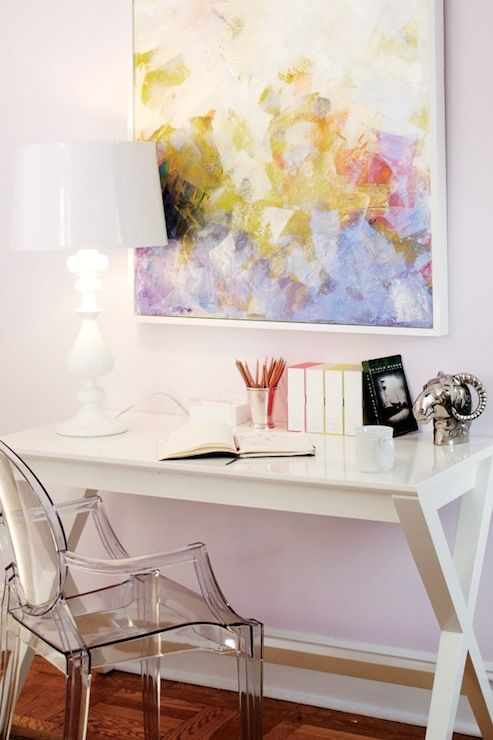 Teen Vogue - girl's rooms - Benjamin Moore - Misty Lilac - Spotlight  Desk, girls desk, kids desk, white desk, x desk, x base desk, abstract...