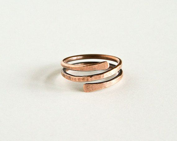 Copper Ring / Spoon 37 - Copper Brass Steel Plated Wire Jewelry