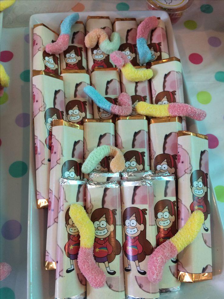 Gravity Falls party, chocolates Mabel, gusanos agridulces