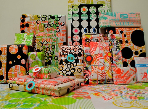 Tamar Cohen - I am the antithesis of Martha Stewart but I sure do love wrapping gifts. My favorite part is silkscreening the wrapping paper myself, usually on newsprint which makes the bright colors pop.