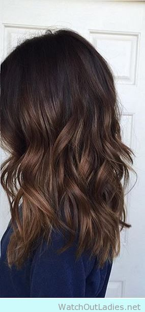 Brown natural hair with caramel highlights