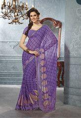#Purple color #Georgette material casual #saree #sari from #yellowfashion.in #2014
