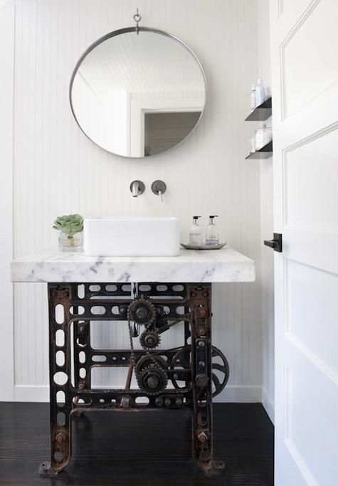via remodelista: Ideas, Bathroom Vanities, Interiors Design, Industrial Chic, Sinks Based, Bathroom Sinks, Sewing Machine, Antonio Martin, Powder Rooms