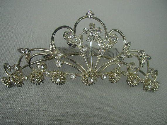 Lovely Vintage Rhinestone Tiara Prong Set Rhinestones Silver