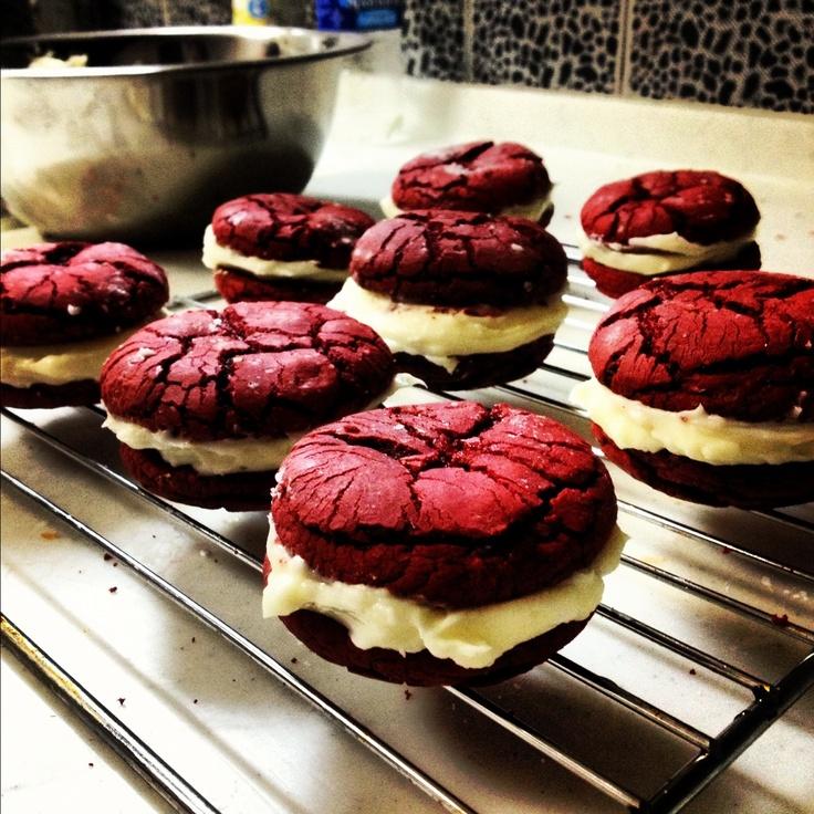 Red Velvet Cake Woopie Pies Duncan Hines Crinkle Cookie Recipe On Side